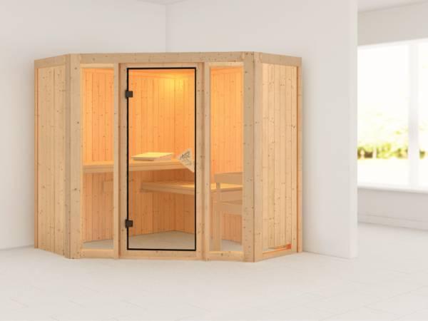 Flora 1 - Karibu Sauna ohne Ofen - ohne Dachkranz -