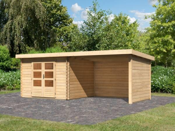 Karibu Woodfeeling Gartenhaus Bastrup 5 mit Schleppdach 3 Meter sowie Seiten- und Rückwand