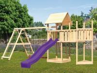 Akubi Spielturm Lotti Satteldach + Schiffsanbau oben + Anbauplattform + Doppelschaukel mit Klettergerüst + Rutsche in violett