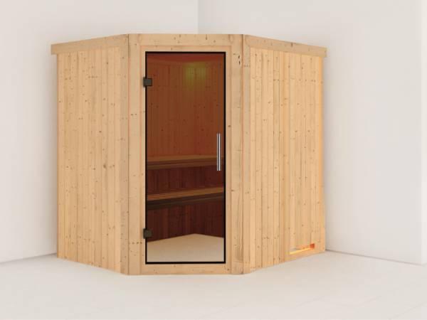Karibu Sauna Siirin ohne Ofen, ohne Dachkranz, mit moderner Saunatür