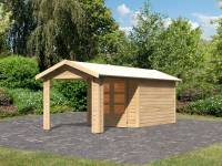 Karibu Woodfeeling Gartenhaus Tastrup 4 mit Anbaudach 2,40 Meter breite