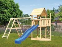 Akubi Spielturm Lotti Satteldach + Schiffsanbau oben + Doppelschaukel mit Klettergerüst + Netzrampe + Rutsche in blau