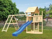 Akubi Spielturm Lotti Satteldach + Schiffsanbau oben + Doppelschaukel mit Klettergerüst + Kletterwand + Rutsche in blau