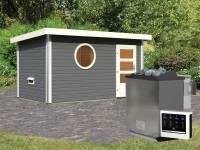 Karibu Saunahaus Skrollan 3 terragrau- 9 kW Bioofen ext. Strg- moderne Tür- rundes Fenster