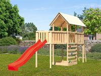 Akubi Spielturm Danny Satteldach + Rutsche rot + Anbauplattform XL + Kletterwand