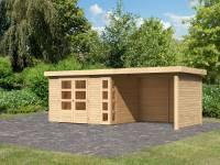 Karibu Woodfeeling Gartenhaus Kerko 5 natur mit Anbaudach 2,80 m inkl. Seiten- und Rückwand