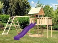 Akubi Spielturm Lotti natur- Anbauplattform- Doppelschaukel inkl. Klettergerüst- Rutsche violett