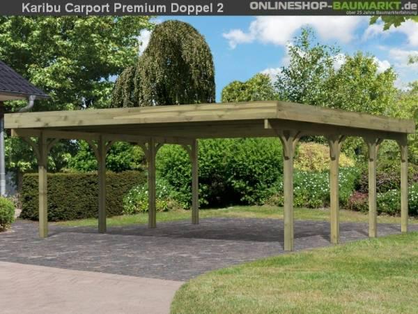 Karibu Carport Premium Doppel 2 ohne Einfahrtsbogen kdi