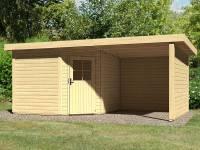 Karibu Woodfeeling Gartenhaus Neuruppin 3 natur mit Schleppdach 2,40 Meter, Seiten- und Rückwand