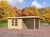 Karibu Gartenhaus Jever 4 mit Fußboden und Anbaudach 2,4 Meter-Rückwand