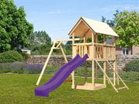 Akubi Spielturm Danny Satteldach + Rutsche violett + Einzelschaukel + Netzrampe