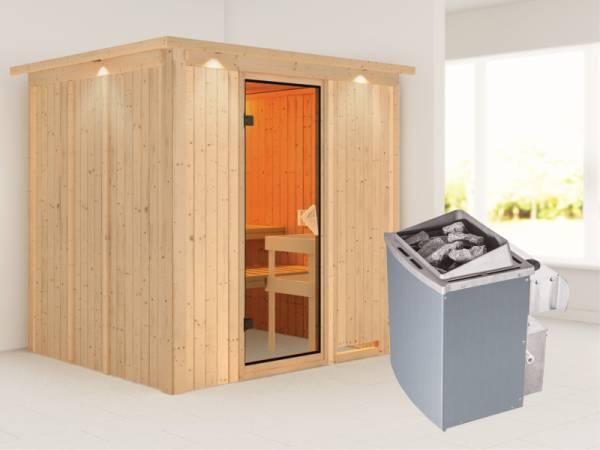 Sodin - Karibu Sauna inkl. 9-kW-Ofen - mit Dachkranz -