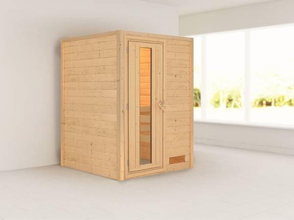 Karibu Woodfeeling Massivholzsauna Svenja 38 mm - energiesparende Tür