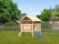 Akubi Spielhaus Mini Sparset mit blauer Rutsche
