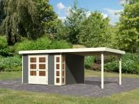 Karibu Woodfeeling Gartenhaus Kerko 6 mit 2,80 m Anbaudach, 19 mm, terragrau