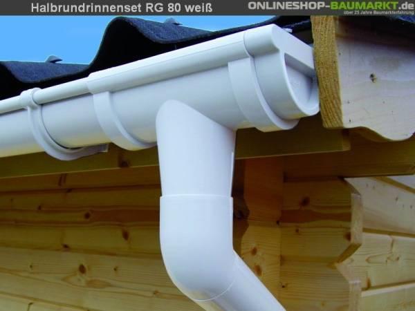 Dachrinnen Set RG 80 weiß 450 cm Pultdach