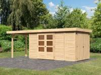 Karibu Woodfeeling Gartenhaus Retola 5 mit Anbauschrank und Anbaudach 2,40 Meter