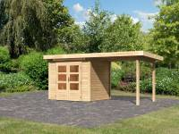 Karibu Woodfeeling Gartenhaus Kandern 2 natur mit Anbaudach 2,6 m