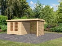 Karibu Woodfeeling Gartenhaus Askola 3,5 mit Anbaudach 2,4 m mit Lamellenwänden