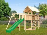 Akubi Spielturm Danny Satteldach + Rutsche grün + Doppelschaukel + Anbauplattform + Kletterwand