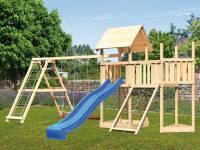 Akubi Spielturm Lotti Satteldach + Schiffsanbau oben + Anbauplattform + Doppelschaukel mit Klettergerüst + Netzrampe + Rutsche in blau