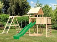 Akubi Spielturm Lotti Satteldach + Rutsche grün + Doppelschaukel Klettergerüst + Anbauplattform + Kletterwand