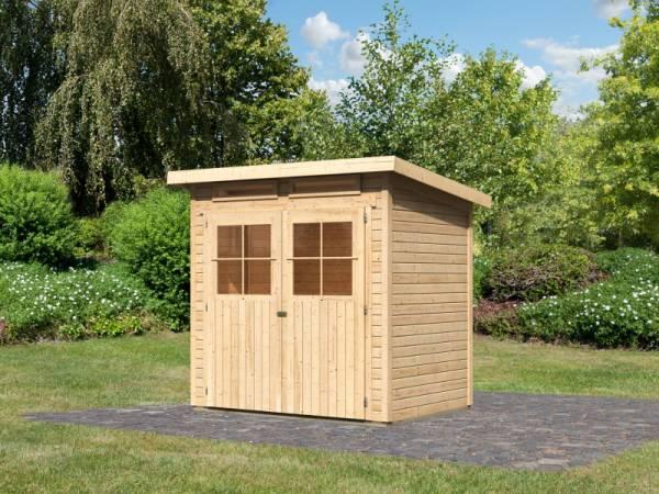 Karibu Gartenhaus Glücksburg 2 natur 19 mm