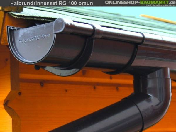 Dachrinnen Set RG 100 braun 1000 cm zweiseitig