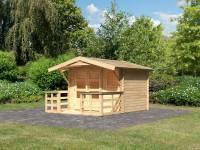 Karibu Woodfeeling Gartenhaus Blockholm 1 inkl. Vordach und Terrasse