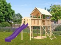 Akubi Spielturm Danny Satteldach + Rutsche violett + Einzelschaukel + Anbauplattform XL + Netzrampe