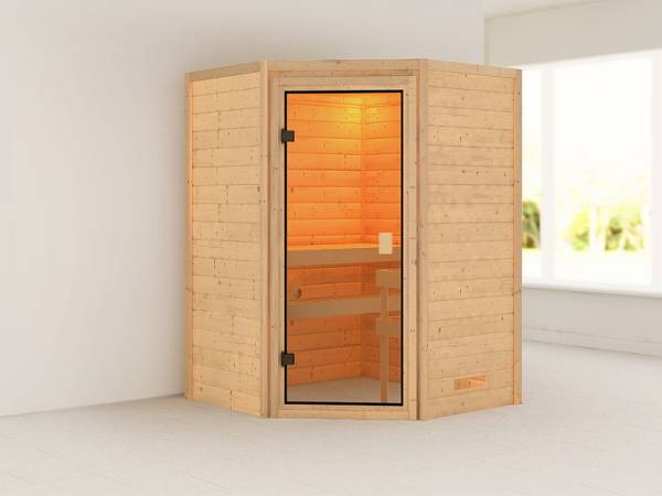 Karibu Woodfeeling Sauna Antonia ohne Dachkranz 38 mm