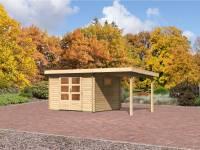 Karibu Aktions Gartenhaus Rastede 3 natur mit Anbaudach 2,2 m