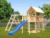 Akubi Spielturm Danny Satteldach + Rutsche blau + Doppelschaukelanbau Klettergerüst + Anbauplattform + Kletterwand