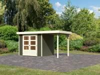 Karibu Woodfeeling Gartenhaus Askola 3 in terragrau mit Anbaudach 1,50 Meter