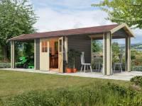 Karibu Gartenhaus Espelo 3 in terragrau mit zwei Dachausbauelementen 2,70 m