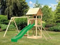 Akubi Spielturm Lotti mit Doppelschaukel, Netzrampe und Rutsche grün