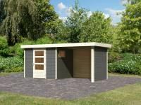 Karibu Woodfeeling Gartenhaus Oburg 3 terragrau mit Anbaudach 2,4 Meter inkl. Rück- und Seitenwand