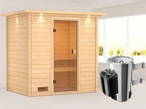 Karibu Sauna Selena mit 3,6 kW Ofen integr. Strg und Dachkranz 38 mm