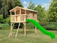 Akubi Stelzenhaus Benjamin natur mit Netzrampe und Rutsche in grün
