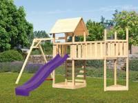 Akubi Spielturm Lotti Satteldach + Schiffsanbau oben + Einzelschaukel + Anbauplattform XL + Kletterwand + Rutsche in violett
