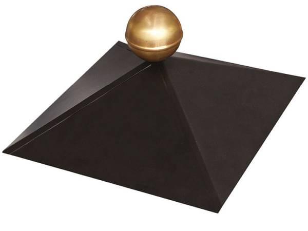 Karibu Pavillonhaube schwarz mit Messingkugel