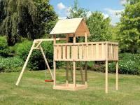 Akubi Spielturm Lotti natur mit Anbauplattform XL und Einzelschaukel