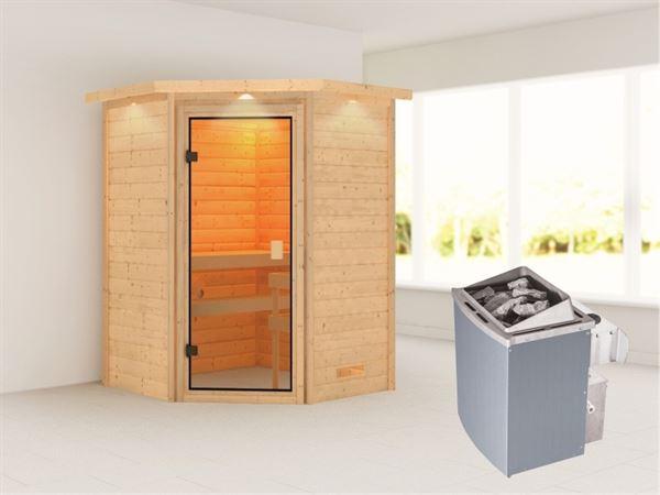 Karibu Sauna Antonia mit 9 kW Ofen integr. Strg und Dachkranz 38 mm