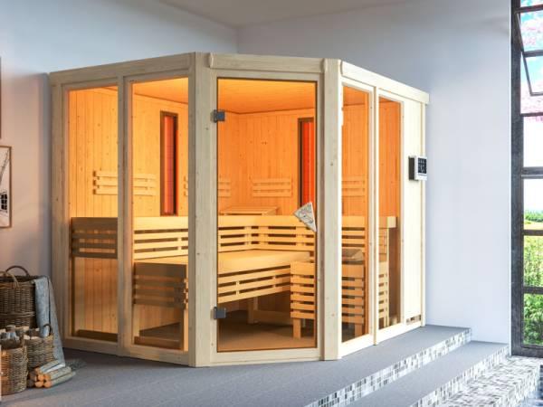 Karibu Multifunktions-Sauna Ava mit 9 kW Ofen und Infrarotstrahler