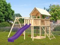 Akubi Spielturm Danny Satteldach + Rutsche grün + Doppelschaukel + Anbauplattform + Netzrampe