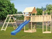 Akubi Spielturm Lotti Satteldach + Schiffsanbau oben + Doppelschaukel mit Klettergerüst + Anbauplattform XL + Kletterwand + Rutsche in blau