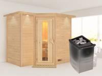 Karibu Sauna Sahib 2 inkl. 9-kW-Ofen mit interner Steuerung, mit Dachkranz, mit energiesparender Saunatür