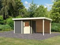 Karibu Woodfeeling Gartenhaus Neuruppin 2 terragrau mit Anbaudach 2,6 m inkl. Rückwand