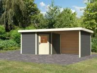Karibu Woodfeeling Gartenhaus Neuruppin 3 terragrau mit Anbaudach 3,2 m inkl. Rück- und Seitenwand