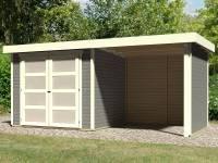Karibu Gartenhaus Mühlendorf 3 terragrau 19 mm mit Anbaudach 2,20 m, Seiten- und Rückwand